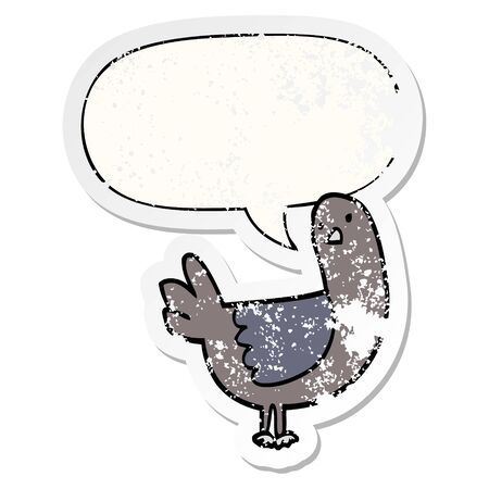 cartoon pigeon with speech bubble distressed distressed old sticker Stok Fotoğraf - 129356418
