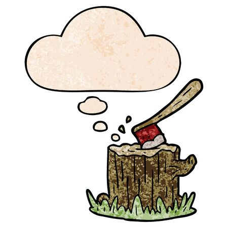cartoon axe in tree stump with thought bubble in grunge texture style