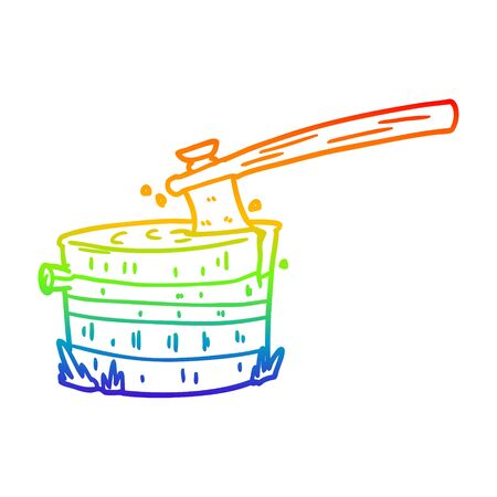 rainbow gradient line drawing of a cartoon tree stump with axe Illustration