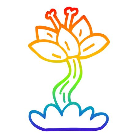rainbow gradient line drawing of a cartoon red lilly Illustration