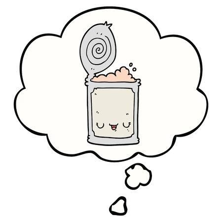 cartoon canned food with thought bubble Ilustração