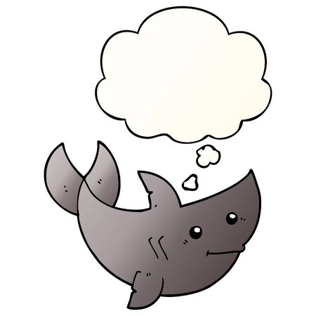 cartoon shark with thought bubble in smooth gradient style