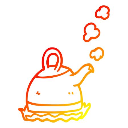 warm gradient line drawing of a cartoon kettle on stove Ilustracja