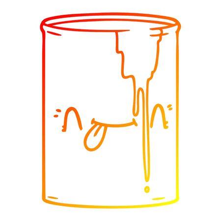 warm gradient line drawing of a cartoon toxic waste Ilustração
