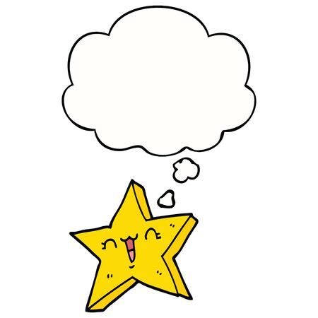 cute cartoon star with thought bubble Ilustração