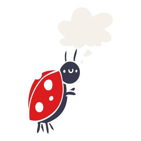 cartoon ladybug with thought bubble in retro style Ilustracja