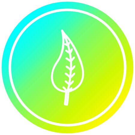natural leaf circular icon with cool gradient finish