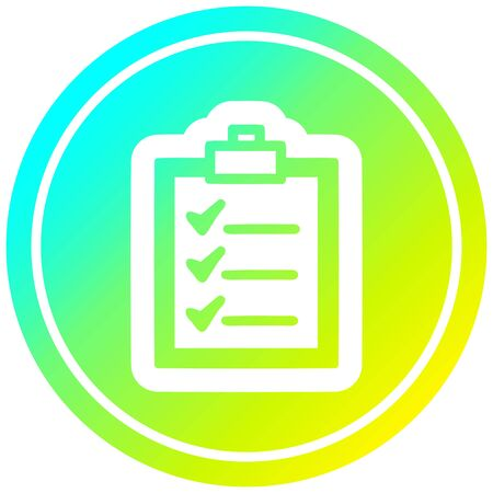 check list circular icon with cool gradient finish