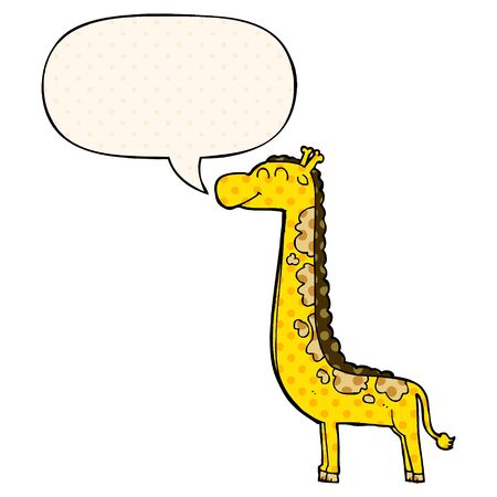 cartoon giraffe with speech bubble in comic book style  イラスト・ベクター素材