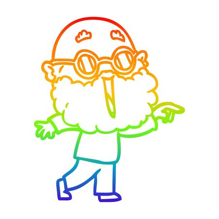 rainbow gradient line drawing of a cartoon joyful man with beard pointing finger Illustration