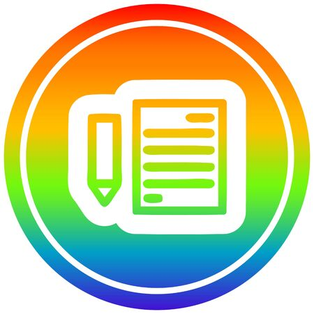 document and pencil circular icon with rainbow gradient finish