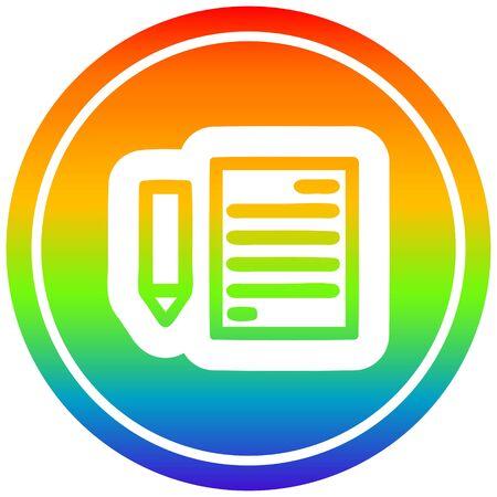icono circular de documento y lápiz con acabado degradado de arco iris Ilustración de vector