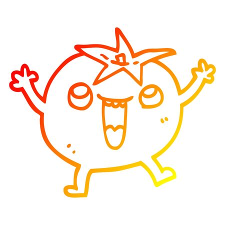 warm gradient line drawing of a cartoon happy tomato