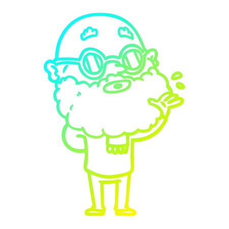 cold gradient line drawing of a cartoon curious man with beard and sunglasses