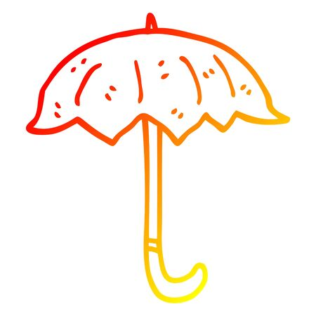 warm gradient line drawing of a cartoon open umbrella  イラスト・ベクター素材