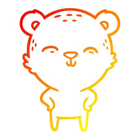warm gradient line drawing of a happy cartoon bear with hands on hips Illustration