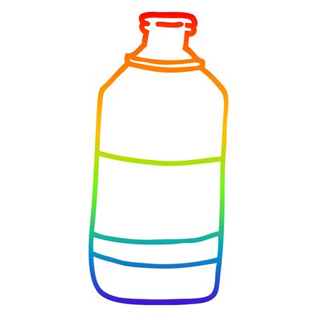 rainbow gradient line drawing of a cartoon water bottle