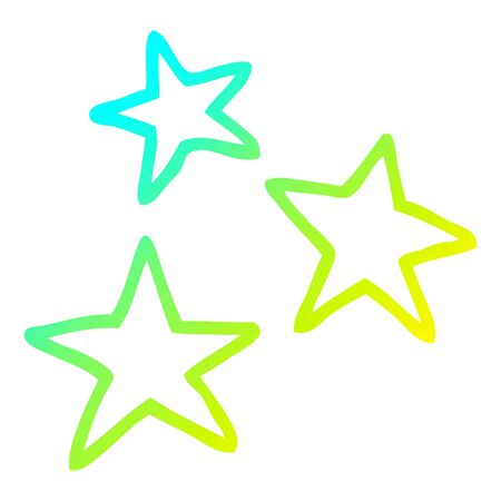 cold gradient line drawing of a cartoon star symbols