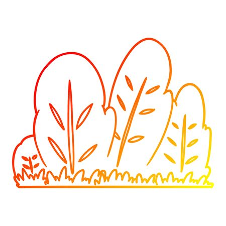 warm gradient line drawing of a cartoon hedge