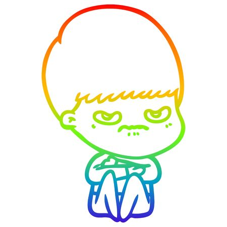 rainbow gradient line drawing of a cartoon angry boy sitting