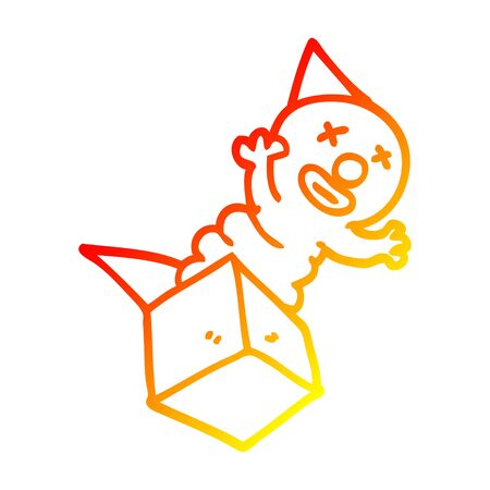 warm gradient line drawing of a cartoon jack in the box