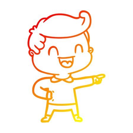 warm gradient line drawing of a cartoon happy man pointing
