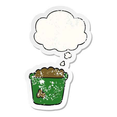 cartoon pot of earth with thought bubble as a distressed worn sticker 向量圖像