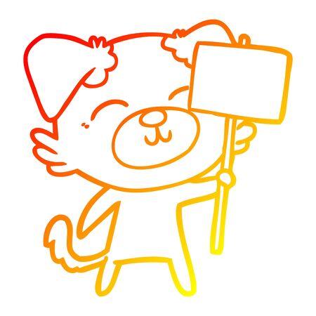 warm gradient line drawing of a cartoon dog with protest sign Ilustração