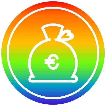 money sack circular icon with rainbow gradient finish 일러스트