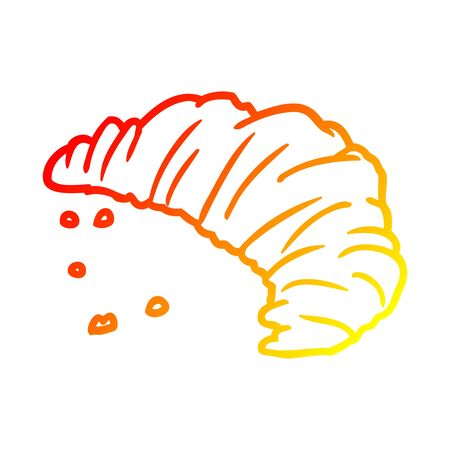 warm gradient line drawing of a croissant