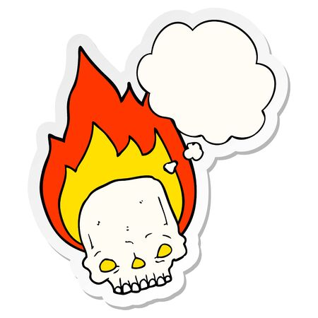 spooky cartoon flaming skull with thought bubble as a printed sticker