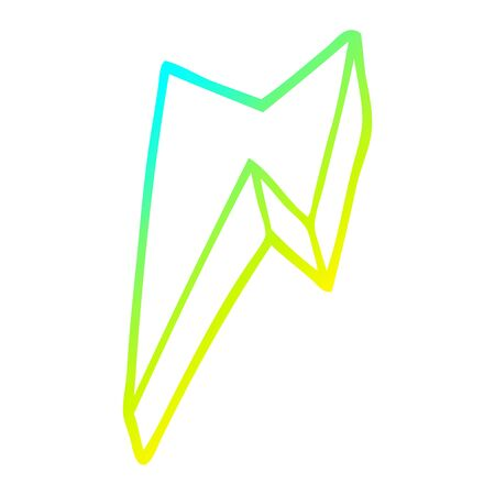 cold gradient line drawing of a cartoon decorative lightning bolt