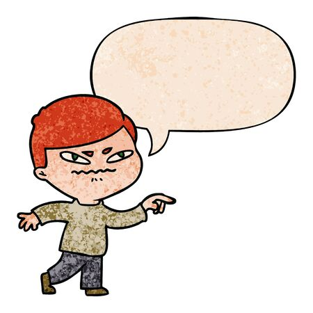 cartoon angry man pointing with speech bubble in retro texture style