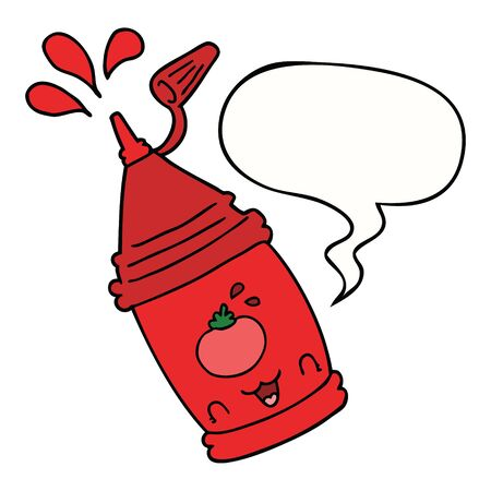 cartoon ketchup bottle with speech bubble 向量圖像