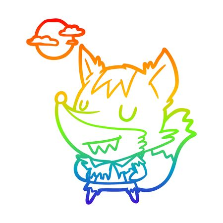 rainbow gradient line drawing of a halloween werewolf 向量圖像