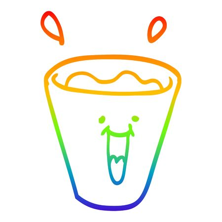 rainbow gradient line drawing of a cartoon happy drinks