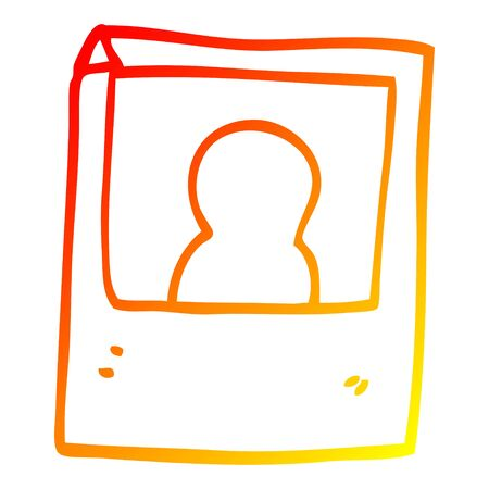 warm gradient line drawing of a cartoon instant photograph