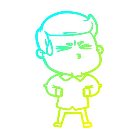 cold gradient line drawing of a cartoon man sweating  イラスト・ベクター素材