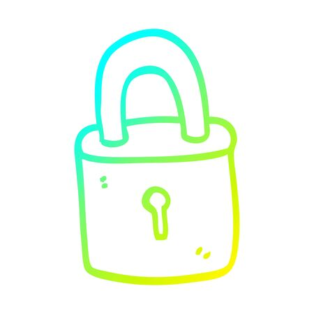 cold gradient line drawing of a cartoon padlock
