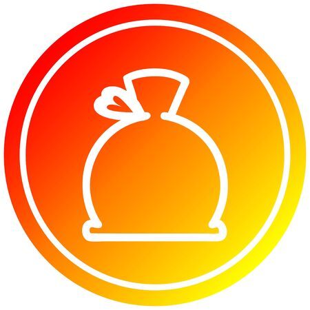 bulging sack circular icon with warm gradient finish