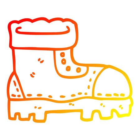 warm gradient line drawing of a cartoon work boot