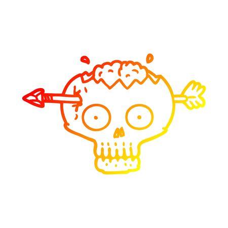 warm gradient line drawing of a cartoon skull with arrow through brain Ilustração