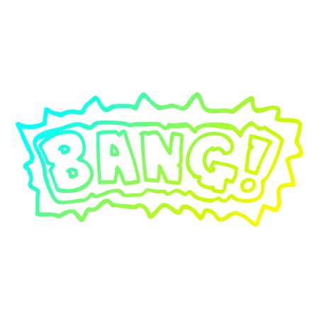 cold gradient line drawing of a cartoon word bang