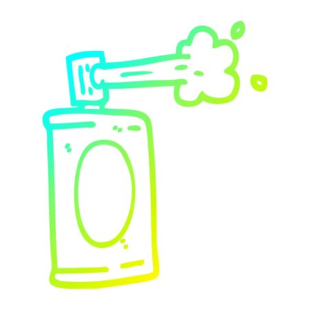 cold gradient line drawing of a cartoon spray can Ilustracja