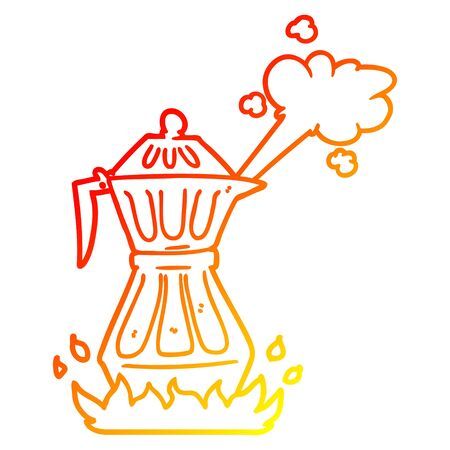 warm gradient line drawing of a cartoon steaming espresso pot
