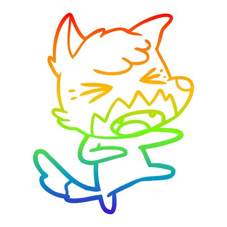 rainbow gradient line drawing of a angry cartoon fox attacking Illustration