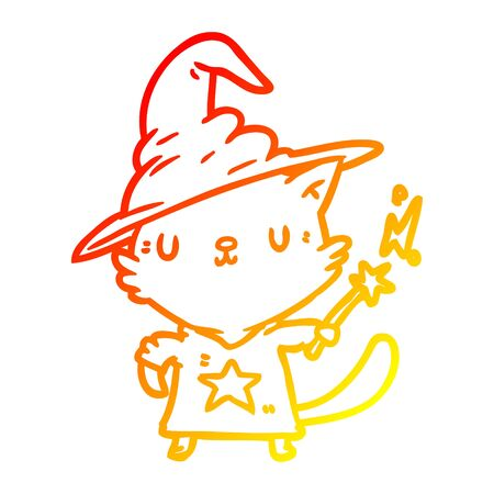 warm gradient line drawing of a magical amazing cat wizard