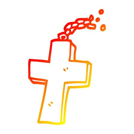 warm gradient line drawing of a cartoon crucifix on chain