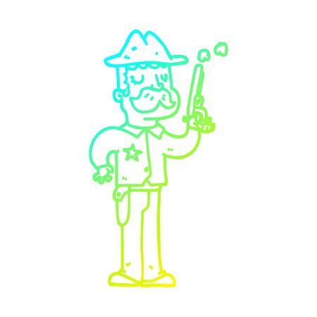 cold gradient line drawing of a cartoon sheriff