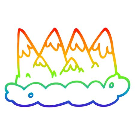 rainbow gradient line drawing of a cartoon mountains 일러스트